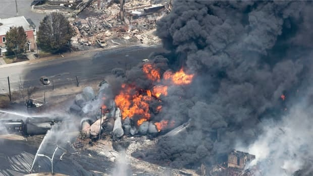 A train carrying 72 cars of oil exploded in the downtown area of Lac-Mégantic, Que. on July 6, 2013.