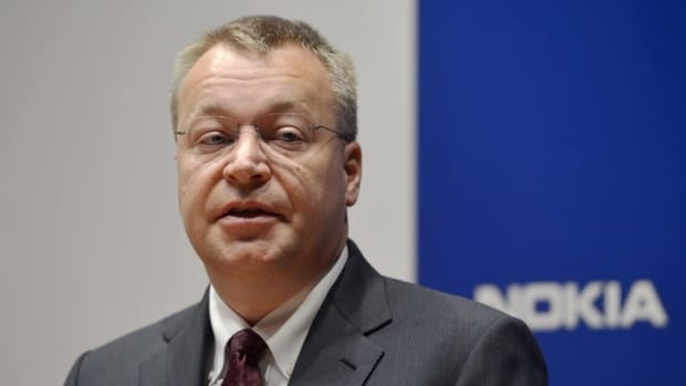 Nokia CEO Stephen Elop speaks at a press conference in Espoo, Finland on Thursday, the day the company announced 10,000 job cuts.