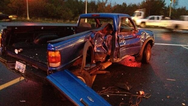 A Ford Ranger was hit by a tractor trailer at Burnside Drive and Akerley Boulevard on Monday.