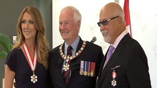 René Angélil and Céline Dion with Governor General David Johnston at the Citadelle of Québec on July 26, 2013.