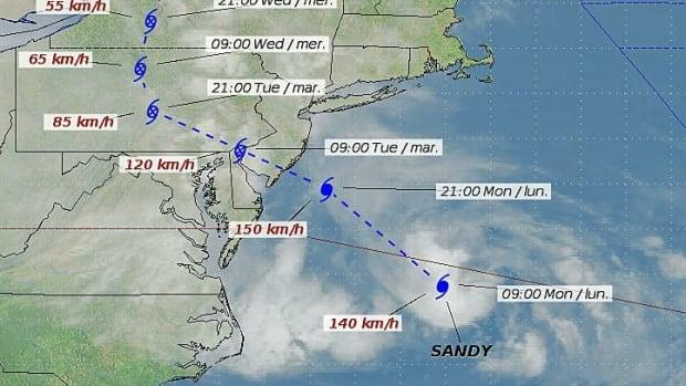 Hurricane Sandy gets closest to Hamilton on Wednesday night.