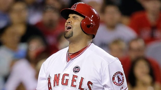 Los Angeles Angels' Albert Pujols may have played his last game of the season, thanks to a tearin his left foot.