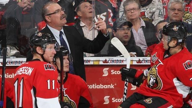 Ottawa Senators head coach Paul MacLean, left-centre, says he believes Daniel Alfredsson, left, is still in good physical condition.
