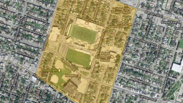 This overview shows the area of the Pan Am precinct where the school board and city may swap land.