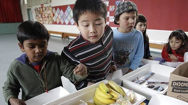 California elementary students look at fruits and vegetables during a school lunch program, of the kind that First Lady Michelle Obama would like to see offered across the United States. Ottawa announced a 'national dialogue' on childhood obesity Monday.