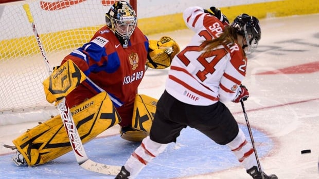 Natalie Spooner and the Canadian women's hockey team took the opener of a two-game exhibition series with Russia on Sunday.