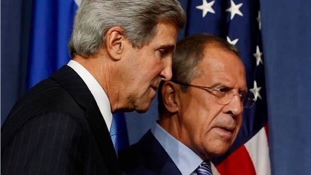 U.S. Secretary of State John Kerry and Russia's Foreign Minister Sergey Lavrov depart a news conference in Geneva on Thursday. American officials are insisting that the Syrian regime provide a quicker accounting of its chemical weapons stockpiles.