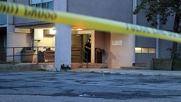 Hamilton police investigate an early morning shooting at an apartment building on Hess St.