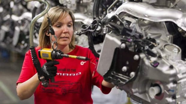 Engine Specialist Jennifer Souch assembles a Camaro engine at the GM factory in Oshawa in 2011. General Motors moved Camaro production to Michigan. On Tuesday, Ontario and Canada sold off 30 million in GM shares they received in the 2009 auto bailout.
