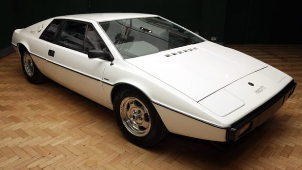 The white 1976 Lotus Esprit car from the 1977 film 'The Spy Who Loved Me' is displayed on November 13, 2008 in London, England.