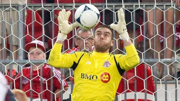 Goalkeeper Milos Kocic is shown in this July 2012 file photo during his time with Toronto FC.