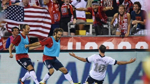 Landon Donovan of the United States celebrates his goal against Mexico at Columbus Crew Stadium on September 10, 2013 in Columbus, Ohio.