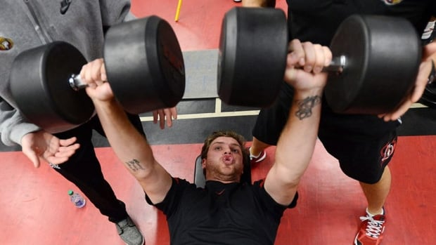 Ottawa Senators' Bobby Ryan takes part in physical fitness testing on the first day of training camp in Ottawa on Wednesday. Ryan's new teammates Marc Methot, Matt Kassian and Erik Karlsson all posted their thoughts about the day on Twitter.