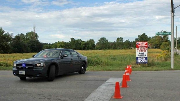 Fiddlers Green is closed between Book Road and Butter Road after a two-car collision Monday morning.