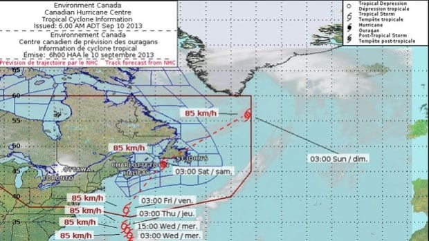 The storm could be classified as a post-tropical storm when it makes land, according to the Canadian Hurricane Centre.