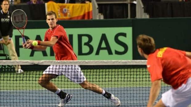 Vancouver's Vasek Pospisil takes on Novak Djokovic in Canada's Davis Cup opener on Friday.