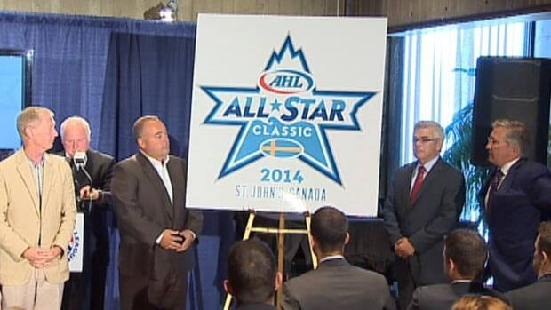 Local politicians and IceCaps officials unveil the logo of the 2014 AHL All-Star Competition in St. John's on Tuesday.