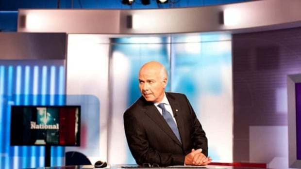 Peter Mansbridge is shown on the set of The National.