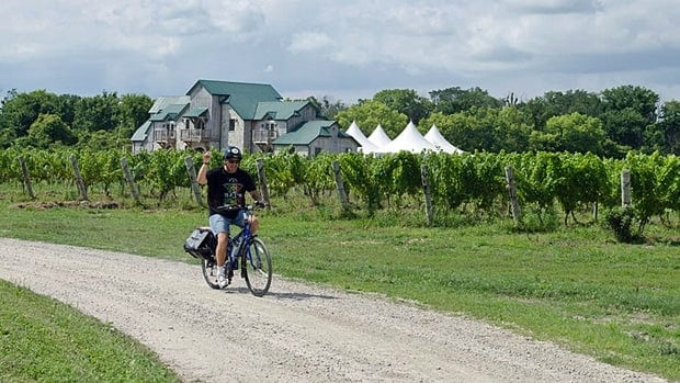 The Wine Trail Ride is a bike tour along the coast of Lake Erie. Riders tour the county and see up to three wineries, where they stop for a tasting.