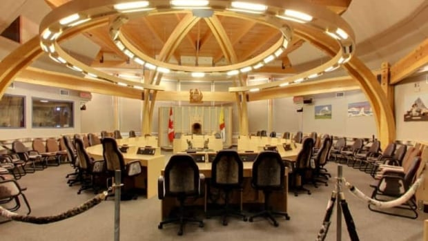 An inside view of the Nunavut legislative assembly chamber. The new cabinet, to be chosen Nov. 15, will consist of eight ministers plus the premier, an increase of one minister from the last assembly.