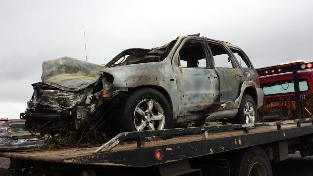 Two people were sent to hospital after this Mazda SUV hit two horses and crashed on Highway 104 on Saturday morning.