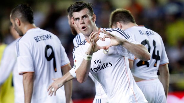 Real Madrid's Gareth Bale, centre, recently acquired from Tottenham, could be the key to the team's success this season along with fellow star Cristiano Ronaldo.