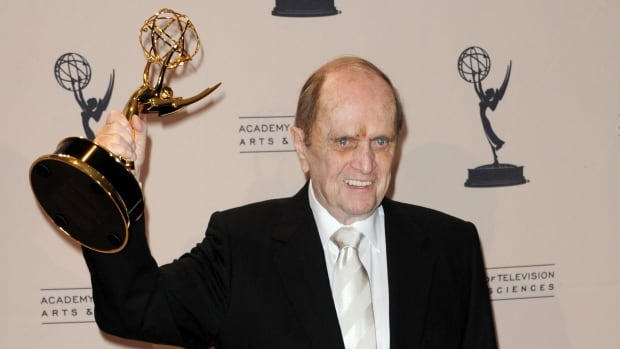 Bob Newhart poses backstage with his first-ever Emmy Award, a trophy for outstanding guest actor in a comedy series for The Big Bang Theory, at the Primetime Creative Arts Emmy gala in Los Angeles on Sunday.