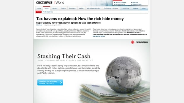 A screen grab shows CBCNews.ca's interactive graphic, 'Stashing Their Cash,' which explains how offshore havens attract the wealthy. The interactive is one CBC's nine nominations for the Canadian Online Publishing Awards.