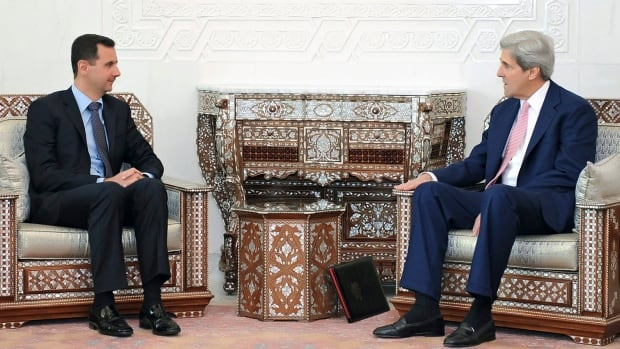 In a photo from Syrian official news agency SANA, Syrian President Bashar al-Assad, left, meets with John Kerry in Damascus in 2010.  Kerry, a senator at the time and chair of the U.S. Senate's foreign relations committee, met with Assad a half-dozen times.