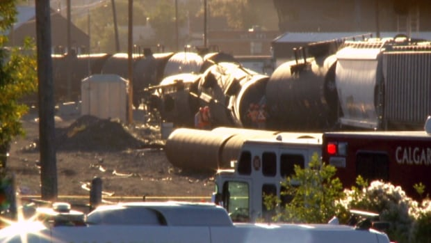 Several cars carrying flammable liquids came off the tracks as a slow-moving train was heading northbound out of the Canadian Pacific Railway's Alyth Yard in the city's southeast on September 11, 2013.