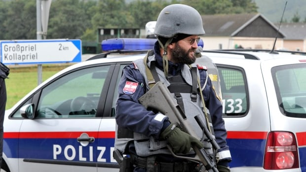 Austrian police say a man shot and killed three police officers and the driver of an emergency rescue vehicle.
