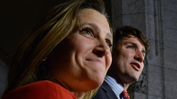 Liberal Leader Justin Trudeau holds a news conference on Parliament Hill in Ottawa on Tuesday with new Liberal candidate for Toronto Centre Chrystia Freeland.