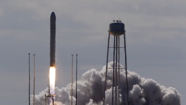 The Orbital Sciences Corp. Antares rocket lifted off the launchpad at the NASA Wallops Island test flight facility in Wallops Island, Va., Wednesday. It is carrying the unmanned Cygnus spacecraft, which will deliver food, clothes and other items as part of this test flight to the International Space Station.