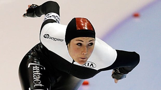 Speed skater Anastasia Bucsis, seen competing at the world championships.
