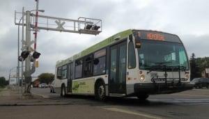 Thunder Bay Transit bus at railway crossing