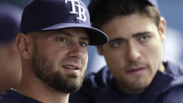 Former Rays reliever Jesse Crain, left, suffered a strained right calf at Astros spring training earlier this week. He doesn't feel the injury will further delay his return to open the season. He was already expected to miss the first two weeks of the season after recovering from off-season biceps surgery.