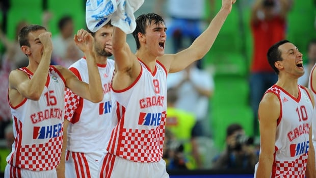 Croatia players celebrate their victory over Ukraine at the Stozice Arena in Ljubljana, on September 19, 2013. ANDREJ ISAKOVIC/AFP/Getty Images)