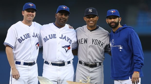 Mariano Rivera of the New York Yankees is honoured before the game against the Blue Jays on September 19, 2013 at Rogers Centre in Toronto.