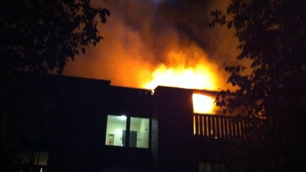 A fire broke out in the three-storey apartment block at 704 Hilliard Street early this morning.