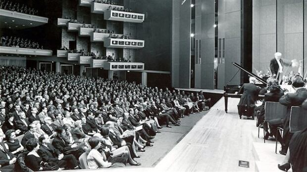A photo of the inauguration concert at Place des Arts in 1963 with conductor Wilfrid Pelletier.