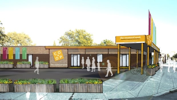 An artist's rendering shows the plans for the Mustard Seed Co-op, which is to be located at 460 York Blvd. in Hamilton.