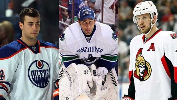 Edmonton Oilers forward Jordan Eberle, left, Vancouver Canucks goalie Roberto Luongo, centre, and Ottawa Senators captain Jason Spezza are all hoping to lead their clubs to the Stanley Cup this upcoming season. (Getty Images/CBCSports.ca)