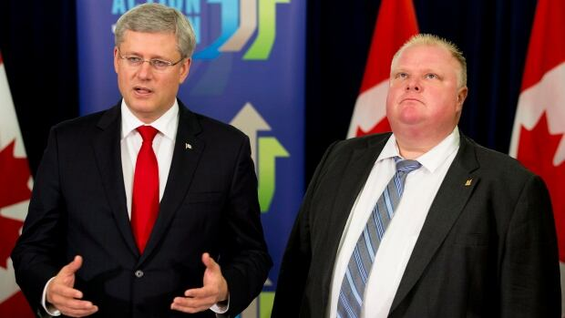 Prime Minister Stephen Harper appeared with Toronto Mayor Rob Ford on Sept. 22, 2013 to announce that the federal government would make a contribution to the Scarborough subway extension. Details of how much Ottawa will chip in are expected at a Monday morning news conference.