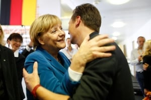 Merkel greets supporter