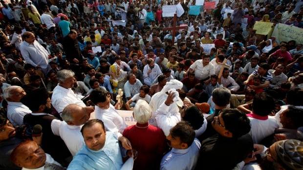 Pakistani Christians participate in a demonstration Monday to condemn a suicide attack on a church the day before. It was the deadliest attack ever in the country against members of their faith.