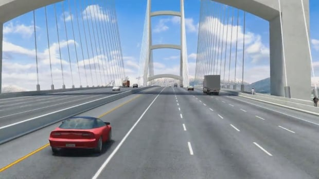 An artist's rendering portrays the future deck of the bridge to replace the George Massey Tunnel south of Vancouver. B.C. Premier Christy Clark promised work will start on the new bridge between Richmond and Delta by 2017.