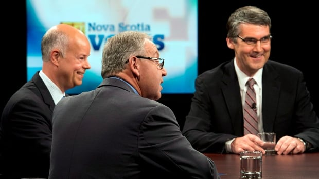 Progressive Conservative Leader Jamie Baillie, left, New Democrat Leader Darrell Dexter, middle, and Liberal Leader Stephen McNeil are set to participate in a televised debate Wednesday night.