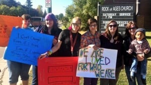 Protesters at Rock of Ages Church seminar