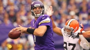 Vikings quarterback Christian Ponder winds up to pass prior to being injured in last Sunday's 31-27 home loss to the Browns.