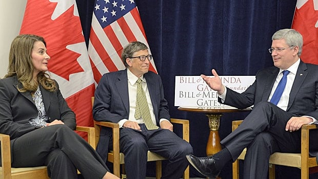 Prime Minister Stephen Harper meets with Bill and Melinda Gates at the UN in New York City, on Wednesday Sept. 25, 2013. Using the UN as a kind of personal conference centre, not a debating forum.